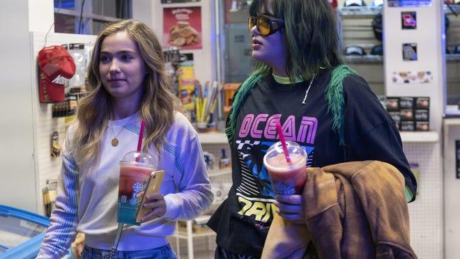 "Haley Lu Richardson as Veronica and Barbie Ferreira as Bailey in ""Unpregnant."""