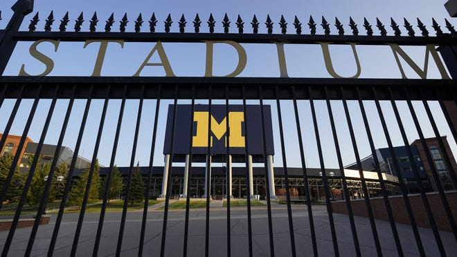 The University of Michigan football stadium is shown in Ann Arbor on Thursday. The Big Ten and Pac-12 canceled their fall football seasons because of the COVID-19 pandemic.