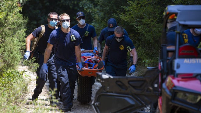 "Austin Fire Department and Austin-Travis County EMS used a ""big wheel"" to move a woman who was injured after a 15-foot fall at the Barton Creek Greenbelt on Sunday."
