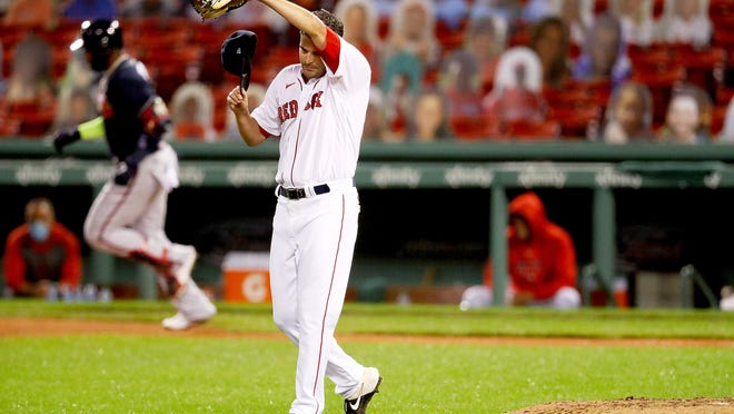Red Sox pitcher Andrew Triggs, shown in Wednesday's game against the Braves, will take the mound Sunday for Boston.