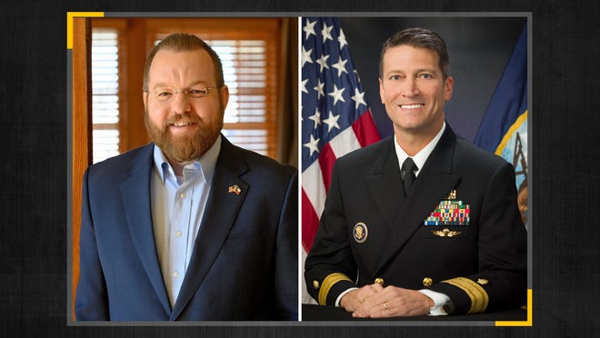 This photo combo shows, from left, Josh Winegarner and former White House physician Ronny Jackson, who are running for the Texas Panhandle seat in the 13th Congressional District. The incumbent, Rep. Mac Thornberry, R-Clarendon, is retiring after two and a half decades in Congress. After an earlier primary, the two GOP candidates left for the seat are Jackson, a retired Navy rear admiral and former White House doctor, and Winegarner, a veteran agriculture expert and lobbyist.