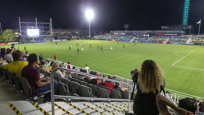 Austin Bold fans watch the team take on New Mexico during the 2019 season. Bold owner Bobby Epstein says when the USL season restarts in July, capacity for home games would be around 23% at the 5,036-seat Bold Stadium, or about 1,200 fans at the venue.