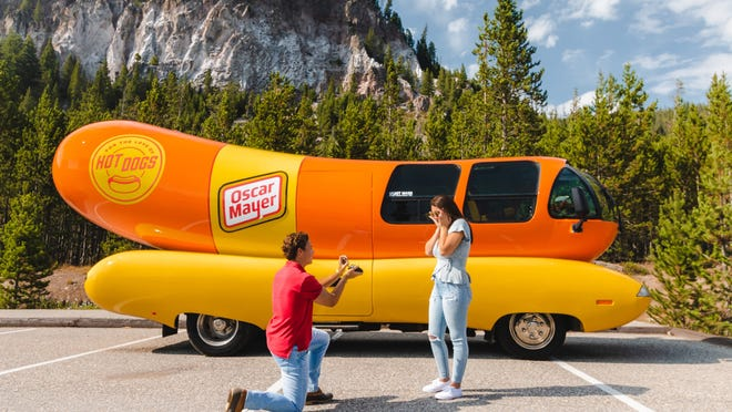 Hot dog fans and lovers can request the Wienermobile for their marriage proposal at no cost.