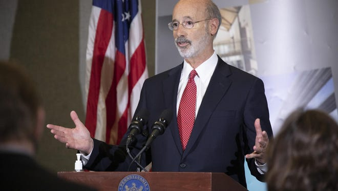 Pennsylvania Governor Tom Wolf speaking to the press. As small businesses continue to feel an economic impact of the COVID-19 public health crisis, Governor Tom Wolf today called on the General Assembly to provide additional funding to support these businesses. The governor was joined by the York County Economic Alliance, local elected officials and business advocates.  York, PA - September 10, 2020