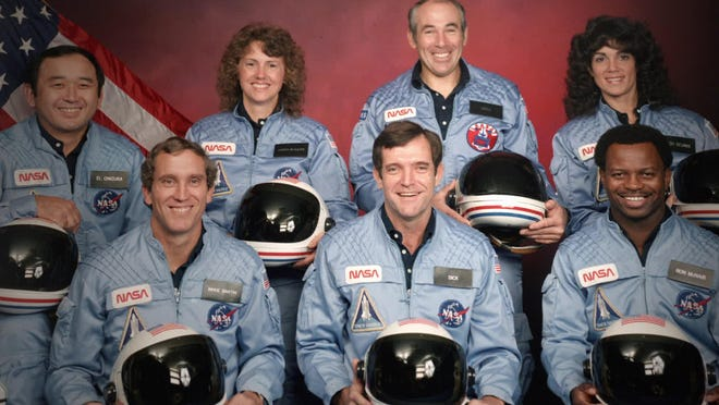 "The Challenger 7 flight crew: Ellison S. Onizuka; Mike Smith; Christa McAuliffe; Dick Scobee; Gregory Jarvis; Judith Resnik; and Ronald McNair in Netflix's ""Challenger: The Final Flight."""