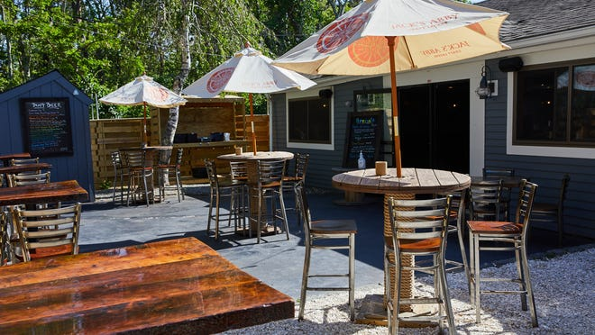 The socially distanced outdoor seating area at the Cleat & Anchor before opening time last weekend.