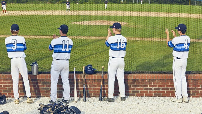 Team Cape Cod practices social distancing Wednesday night during a game against the PSL Tigers at McKeon Park.