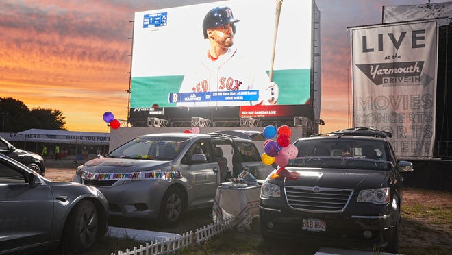 The Red Sox home opener showed on the big screen last week at the new Yarmouth Drive-In on Cape Cod. Live concerts and comedy shows will be added this weekend to the movies and sports schedule.