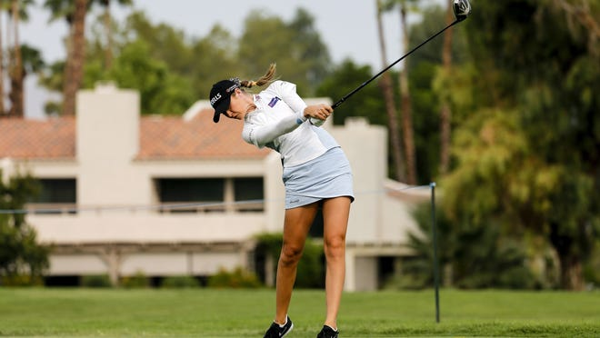 Nelly Korda hits her tee shot on the 12th hole during the second round of the ANA Inspiration tournament on Friday.