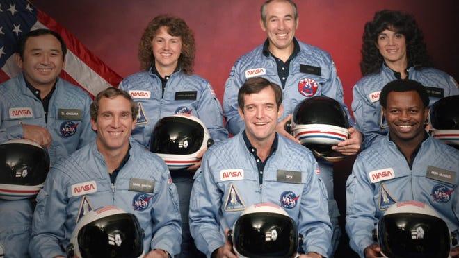 "The Challenger 7 flight crew: Ellison S. Onizuka; Mike Smith; Christa McAuliffe; Dick Scobee; Gregory Jarvis; Judith Resnik; and Ronald McNair in Netflix's ""Challenger: The Final Flight."""