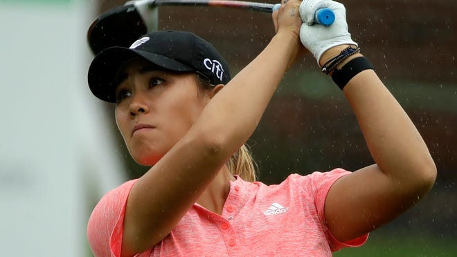 Danielle Kang watches her drive on the 10th hole during the second round of the LPGA Drive On Championship.