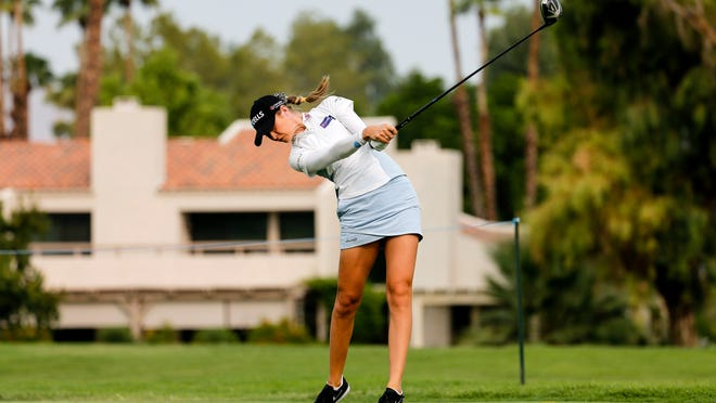 Nelly Korda hits her tee shot on the 12th hole during the second round of the the ANA Inspiration in Rancho Mirage, California.