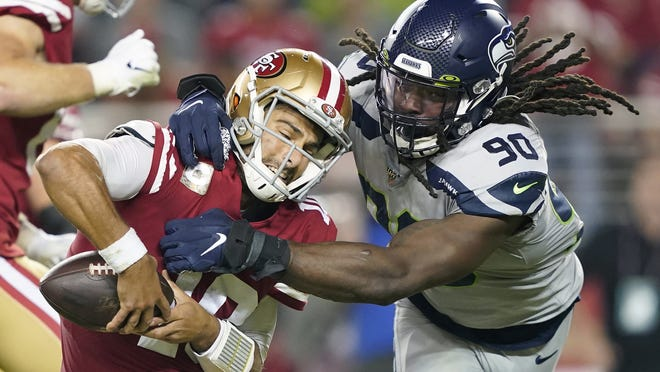 Many believed Seattle Seahawks defensive end Jadeveon Clowney (90) would be snatched up by a team desperate for a pass-rushing presence during the first few days of free agency. And, for big-time bucks. Instead, the 2014 No. 1 overall pick is still unsigned and potentially looking at a one-year, prove-it deal. Could the Patriots be the team to give it to him?