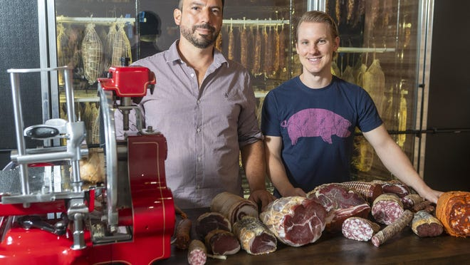The Salumeria co-founders Gerardo Garcia and Anthony Pedonesi in April opened a production facility and tasting room off Fitzhugh Road near Dripping Springs where they make dozens of kinds of charcuterie.