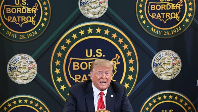 President Donald Trump speaks at the U.S. Border Patrol station in Yuma, Arizona, on June 23, after a visit to the border wall with Mexico.