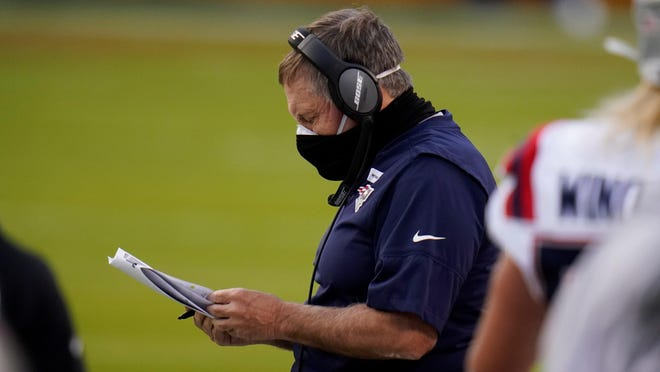 New England Patriots head coach Bill Belichick during last Monday night's game against the Kansas City Chiefs.