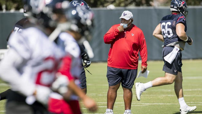 Houston Texans interim head coach Romeo Crennel starts his first practice leading the team Wednesday at The Houston Methodist Training Center in Houston. The team seeks its first win of the season after an 0-4 start.