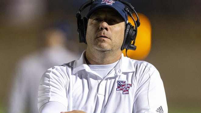 East View head coach Jerod Fikac led the Patriots to a 42-35 win over Elgin Friday.