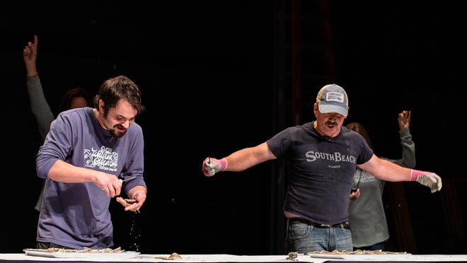 """William """"Chopper"""" Young, right, won his sixth Wellfleet OysterFest shuck-off competition during Saturday's festival, which was livestreamed on Youtube. Young defeated Calen Bricault, left, and Kyle Morse in the finale."""