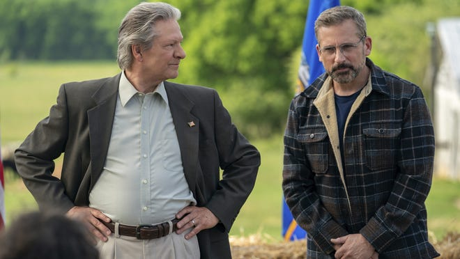 "In this image released by Focus Features, Chris Cooper, left, and Steve Carell appear in a scene from ""Irresistible."""