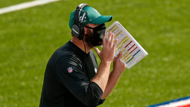 New York Jets head coach Adam Gase yells instructions during the second half of an NFL football game against the Buffalo Bills in Orchard Park, N.Y., Sunday, Sept. 13, 2020.