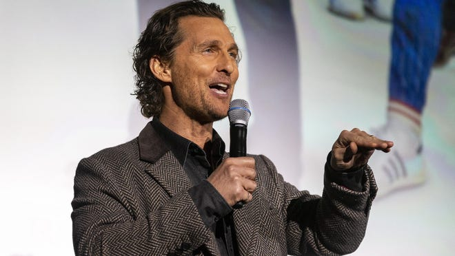 "Matthew McConaughey presents his new film ""The Gentlemen"" during a special screening for students and athletes inside the Hogg Memorial Auditorium on the University of Texas campus in January."