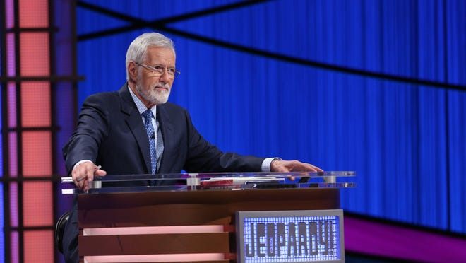 "Alex Trebek in a 2018 photo from the set of the television quiz show ""Jeopardy!"""
