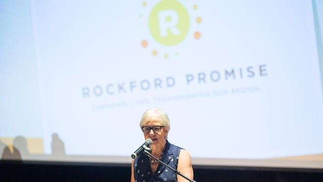 The city hopes to invest $1.5 million a year in the newly announced Rockford Promise NIU Scholarship for Rockford Public Schools graduates. Elaine Breck, past board president of Rockford Promise, speaks April 26, 2019, at Rock Valley College, during the annual Rockford Promise ceremony celebrating 31 high school graduates and scholarship recipients.