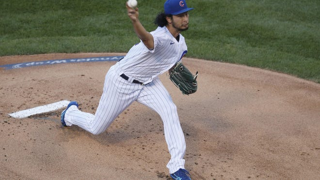 Chicago Cubs starting pitcher Yu Darvish delivers during the first inning against the Milwaukee Brewers, Thursday in Chicago.
