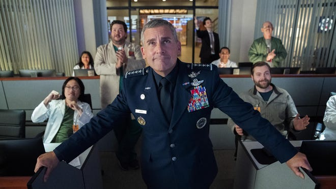 "A scene from the new Netflix comedy series ""Space Force,"" starring Steve Carell. The streaming giant made $709 million in early 2020; Carell got his comedic start in Chicago theater."