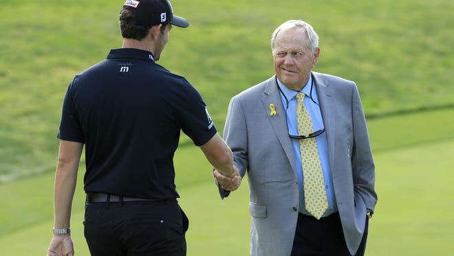 Patrick Cantlay shakes hands with Jack Nicklaus after winning The Memorial Tournament Presented by Nationwide at Muirfield Village Golf Club on June 2, 2019 in Dublin, Ohio.
