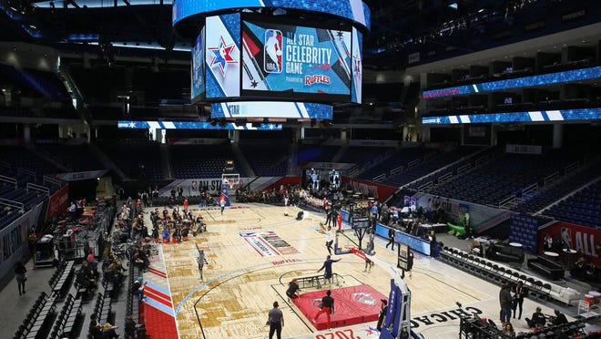 Performers practice before the All-Star Celebrity Game at Wintrust Arena on Friday, Feb. 14, 2020.
