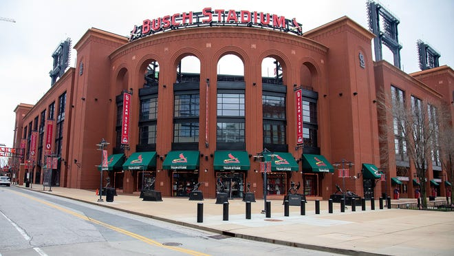 Busch Stadium in St. Louis remains idle as the St. Louis Cardinals continue to be sidelined by a COVID-19 infection that has hit the team.