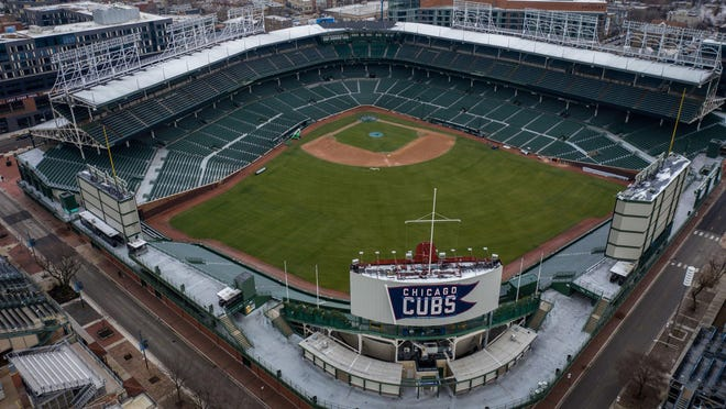 An empty Wrigley Field in Chicago on March 23, 2020.