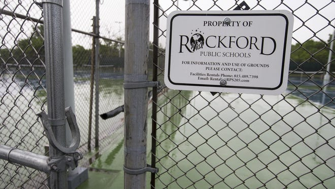 The tennis courts at Guilford High School on Tuesday, June 9, 2020, in Rockford.