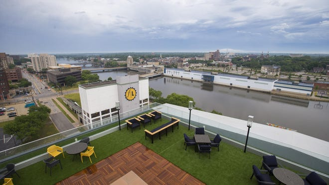 A rooftop bar provides panoramic views of downtown at Embassy Suites by Hilton Rockford Riverfront, 416 S. Main St., on Friday, June 26, 2020, in Rockford. The 13-story hotel is due to open on Wednesday.