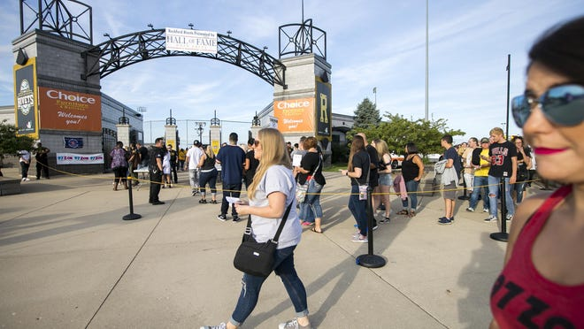 Fans line up to enter Rivets Stadium in Loves Park ahead of a Snoop Dogg concert on Aug. 15, 2019. The stadium will host a fireworks show on July 4, 2020.