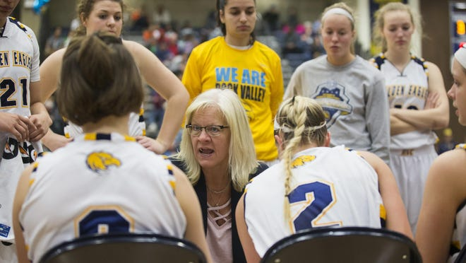 Former Rock Valley College coach Misty Opat talks to her team during a timeout against Northland Community College during the semifinals of the NJCAA Division III women's basketball national tournament on March 16, 2018, at Rock Valley College in Rockford. Opat has taken a new coaching job in Arizona.
