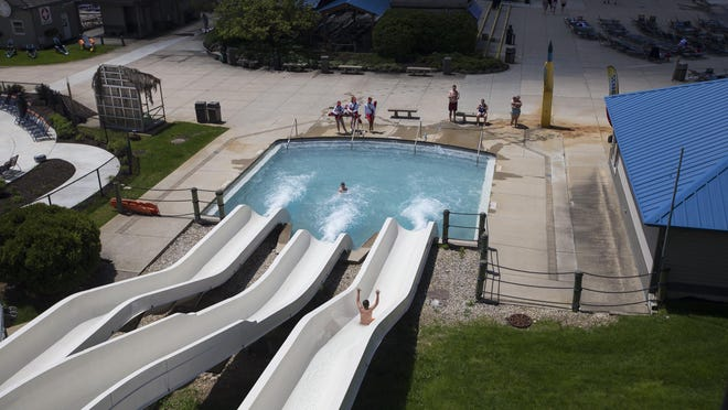 The view of Tropical Twisters from atop the Double Dare Drop waterslide at Six Flags Hurricane Harbor Rockford. The waterpark will open July 20 for a shortened summer season.