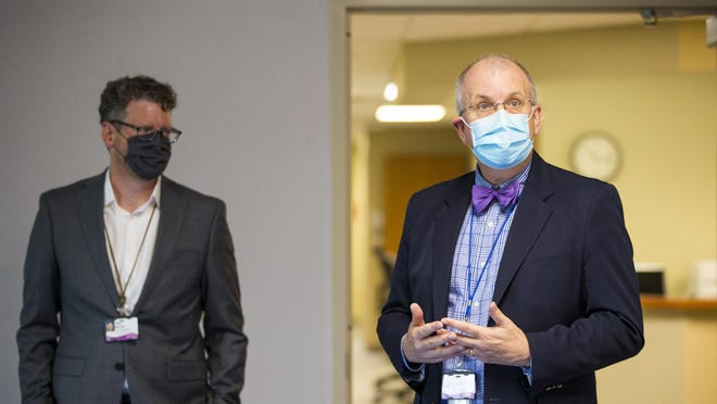 Dr. Thomas Schiller, right, SwedishAmerican Hospital's medical director for employer-based clinics, and Noel Nickel, left, SwedishAmerican Hospital's vice president for strategy and business development, announce the opening of the a new health clinic for Fiat Chrysler Automobile assembly plant workers at FCA Family Health and Wellness Center-Belvidere on Wednesday, July 15, 2020, in Belvidere.