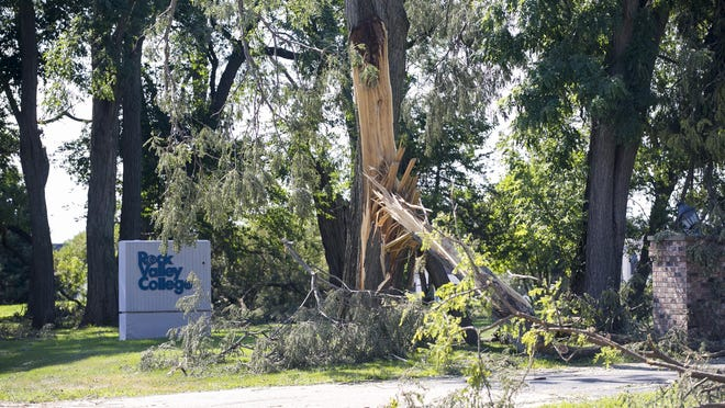Rock Valley College reopened Wednesday after being closed for a week and a half after a tornado hit the college's main campus in Rockford. The campus, seen here on Aug. 13, sustained extensive damage.