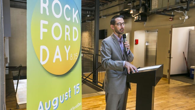 Mayor Tom McNamara marks the kickoff of Rockford Day, a day to celebrate the resiliency of the city, at Indoor City Market on Saturday in Rockford.