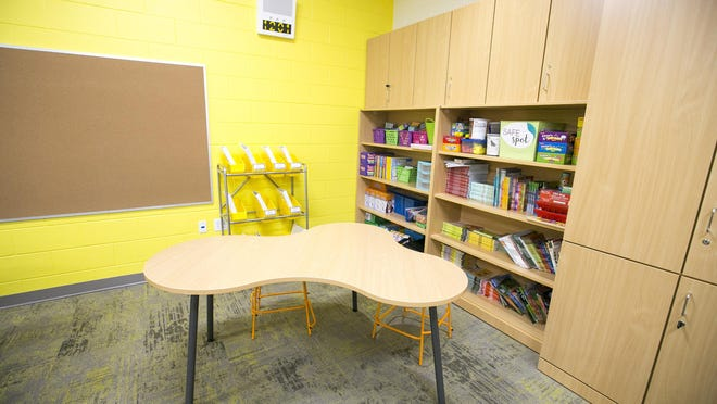 Tables are arranged for social distancing in a classroom at Constance Lane Elementary School. The district plans to welcome students back to schools on Sept. 2.