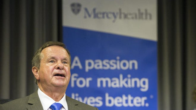 Javon R. Bea, Mercyhealth president and CEO, speaks Wednesday at a press conference at Javon Bea Hospital-Rockton Avenue.