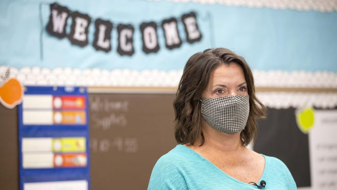Gregory Elementary School principal Kristine Leider prepares for the first day of school Tuesday in Rockford.
