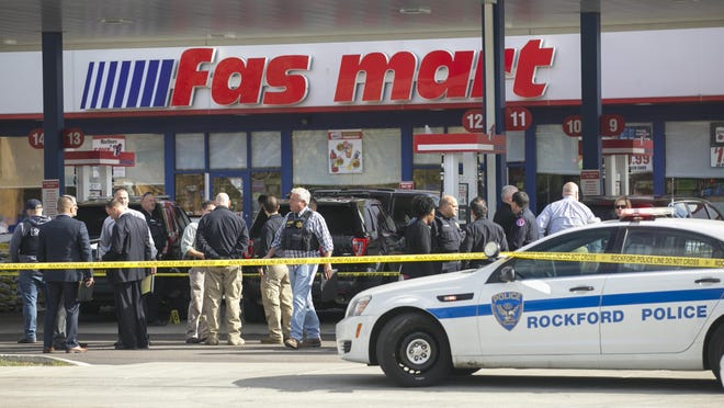 Rockford police and Winnebago County sheriff's deputies investigate after Wainer Sousa Ancheta exchanged gunfire with several sheriff's deputies on Oct. 24, 2018, at Fas Mart on North Main Street in Rockford.