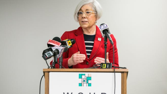 Sandra Martell, Winnebago County public health administrator and director of the Winnebago County Health Department, seen here at a news conference on March 20, said the community needs its residents to double down on COVID-19 compliance in the weeks to come.