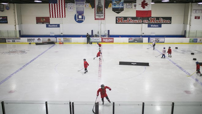 Junior IceHogs practice Tuesday at Riverview Ice House in Rockford. The Rockford Park District board of commissioners will be presented with a plan next month that would close Riverview Ice House and consolidate ice activities at Carlson Ice Arena.
