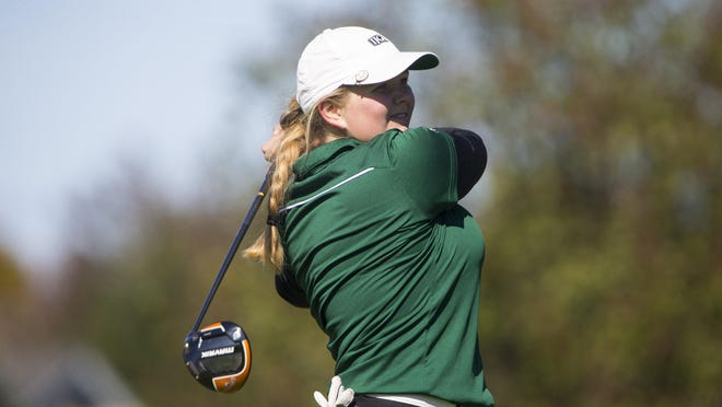 Boylan junior Ella Greenberg, shown during the 2020 NIC-10 tournament, finished third in the state in Class 1A girls golf Saturday.