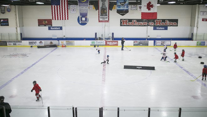 Kids practice hockey at Riverview Ice House on Sept. 22 in Rockford.
